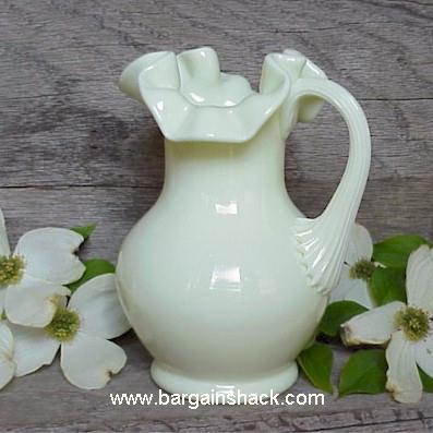 Ruffled Custard Glass Pitcher